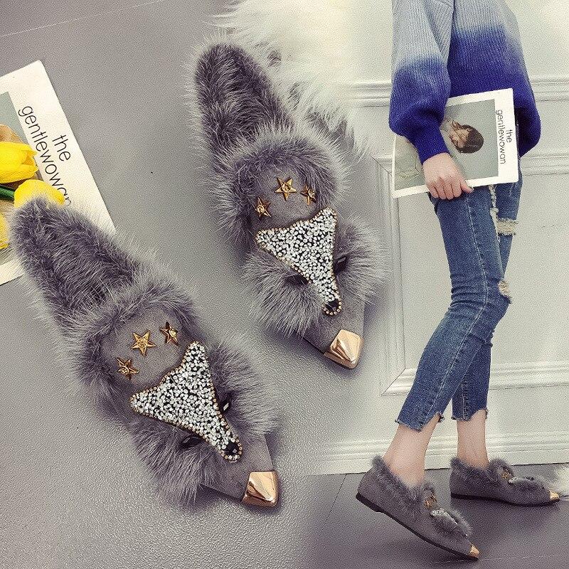 Image 3 - SWYIVY Fur Flat Shoes Black Short Plush Animal Prints Shallow Single Shoes Woman Loafers Flats Ladies Shoes Plus Size Boat ShoesWomens Flats   -