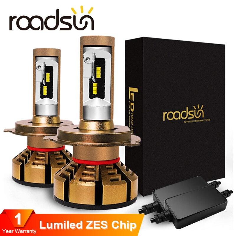 roadsun H7 Led H4 H1 With luxeon ZES Chips Car Headlight Bulbs H11 LED H8 H9 HB3 9005 HB4 9006 Auto Lamp 6000K 12V 12000LMCar Headlight Bulbs(LED)   -