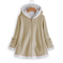 Autumn Women Plus Size Jackets Coats Casual Long Pockets Full Sleeve Solid Hooded Outerwear