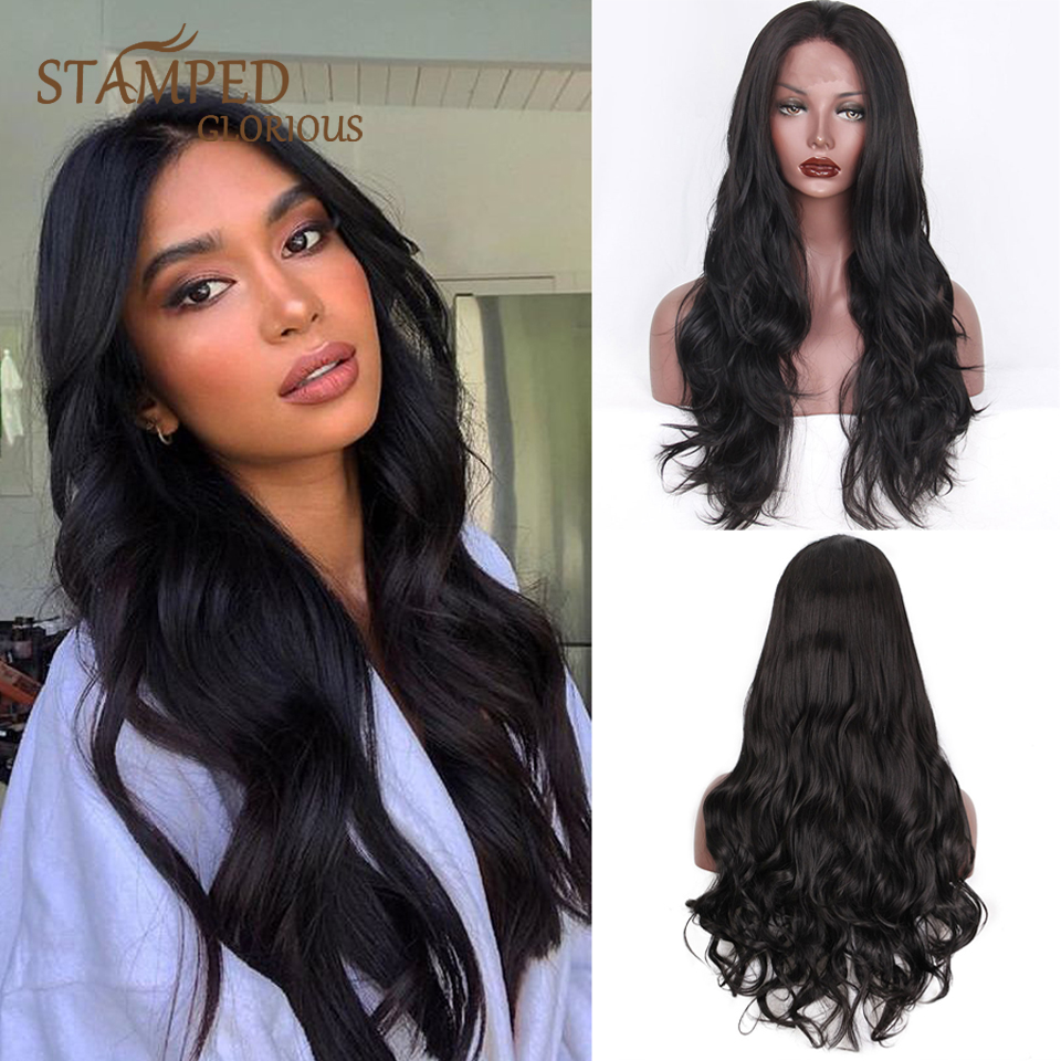 Stamped Glorious 24inches Long Black Wig Middle Part Synthetic Lace Front Wig Nature Wave Lace Wig For Black Women