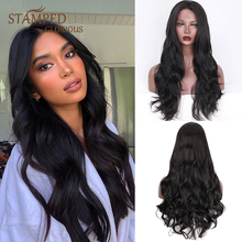 Stamped Glorious 24inches Long Black Wig Middle Part Synthet