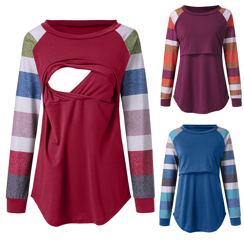 Emotion Moms Long Sleeve Autumn Maternity Clothes Maternity Top Breastfeeding Tops Sweater Nursing Hoodies For Pregnant Women