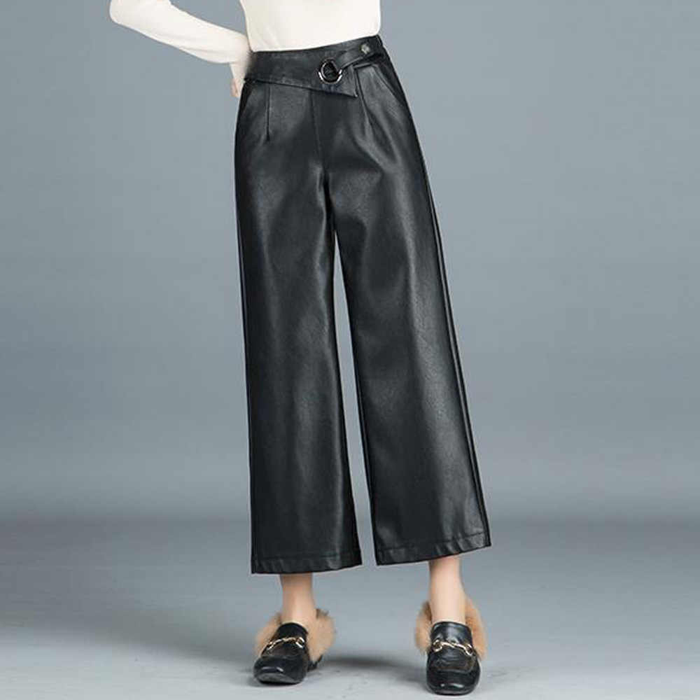 2019 Autumn Pu Leather Wide Leg Pants Women Black Elastic Bottoms Female Loose Ankle Length Trousers Ladies Office Pants Femme