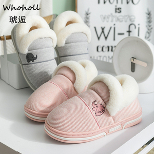 Image 3 - Whoholl Brand Elephant Shaped Cotton Women Slippers Warm Plush Winter Fur Slippers Soft Indoor Shoes Flat With Home Slippers 46
