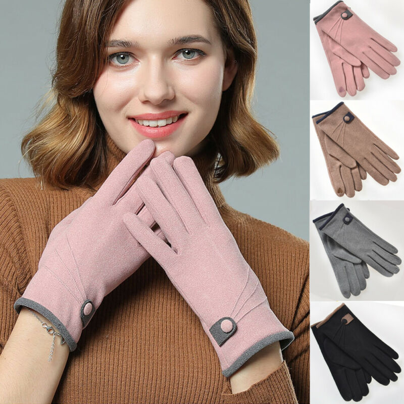 Women Winter Warm Thick Soft Cashmere Touch Screen Fleece Buttoned Gloves Thermal Lined Elegant Gloves Drop Shipping