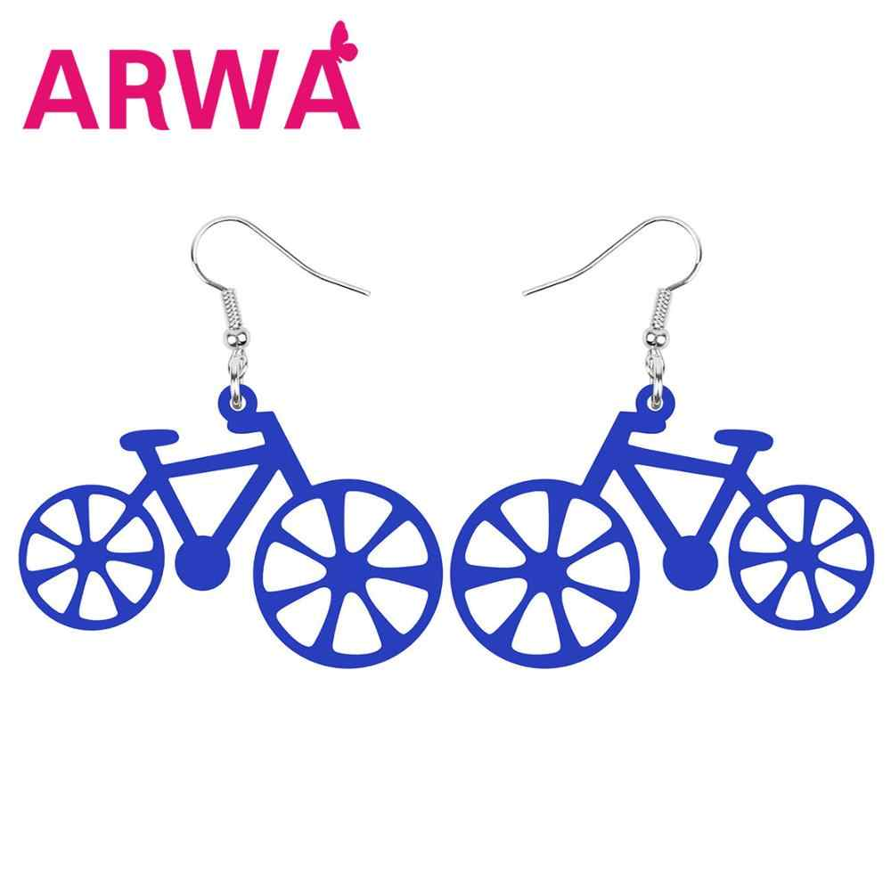 Arwa Akrilik Hollow Sepeda Sepeda Anting-Anting Drop Menjuntai Dekorasi Perhiasan untuk Wanita Remaja Gadis Pesta Trendi Pesona Hadiah Aksesori