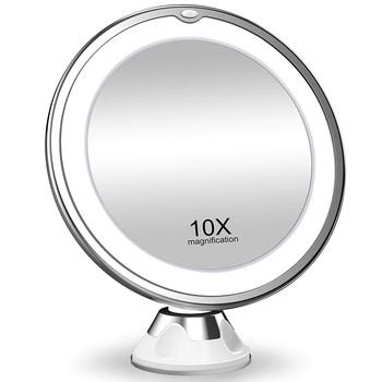 Elastyczny lustro do makijażu 10X lustra powiększające z podświetleniem LED ekran dotykowy lustro kosmetyczne przenośne toaletka lusterka kosmetyczne tanie i dobre opinie Wyposażone CN (pochodzenie) Glass Lusterko do makijażu 7 79in*6 67in*2 76in mirror 10X Magnification Natural Daylight LED