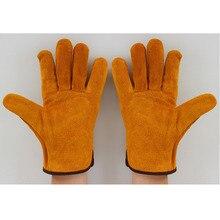 1 paar Leder Schweißen Schutz Handschuhe Heavy Duty Gelb Mig Schweißen Stulpen Schweißer Rindsleder Handschuhe Schützen Liefert