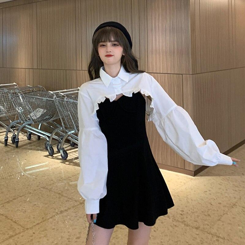 Elegant Party Dress Women Long Sleeve Sweet Empire High Street Mini Dress Gothic Y2k Dress Korean Autumn 2020 Female Outfits