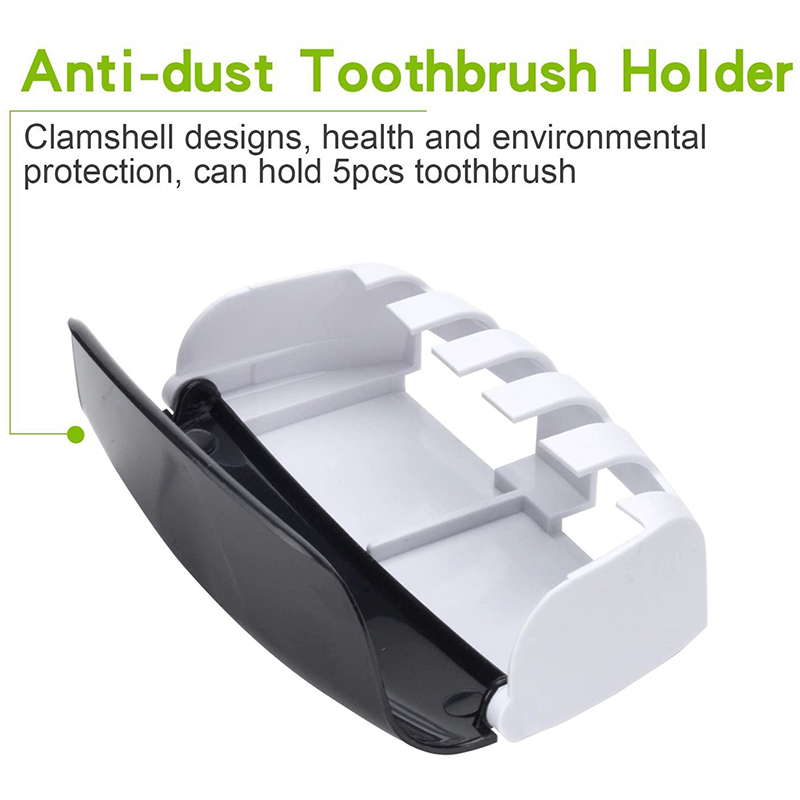Automatic Toothpaste Dispenser Wall Mount Dust-proof Toothbrush Holder Wall Mount Storage Rack Bathroom Accessories Set Squeezer 3