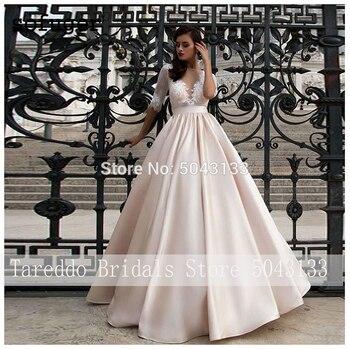Elegant Satin Wedding Dresses With Pocket Vestidos Noiva Lace Half Sleeves Bridal Gowns 2020 Floor Length Champagne Bride Dress 3