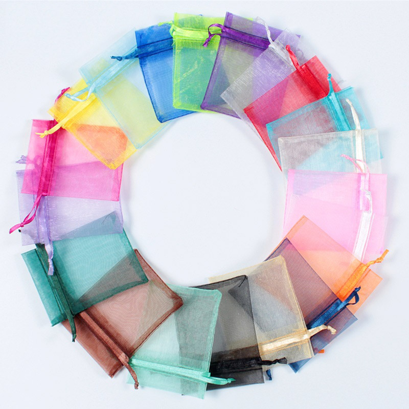 100pcs Solid color pearl jewelry mesh bag Gift candy cosmetic packaging