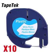10 תואם Dymo LetraTag 91201 שחור על לבן (12mm x 4m) פלסטיק קלטות תווית 91331 91221 59422 S0721660