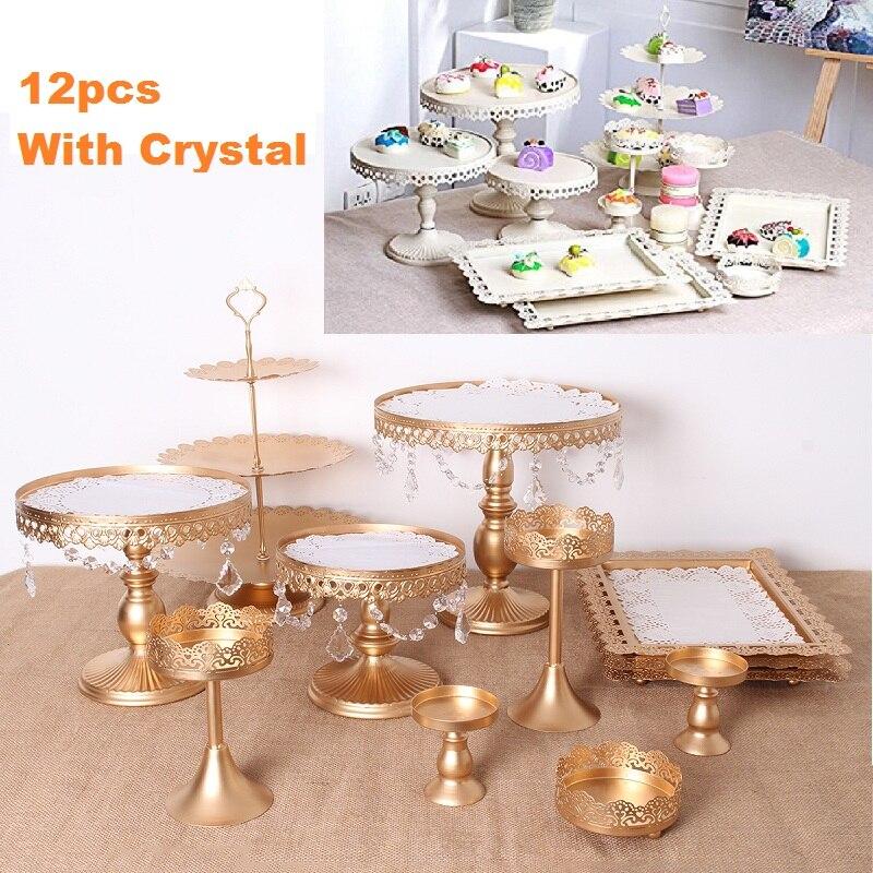 12 шт., подставка для торта, набор, круглый металлический Хрустальный кекс, десерт, дисплей, поднос, стойка, свадебное украшение, кухонные инст...