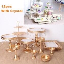12PCS Cake Stand Set Ronde Metalen Crystal Cupcake Dessert Display Rack Lade Bruiloft Decoratie Keuken Cake Gereedschappen Goud Wit
