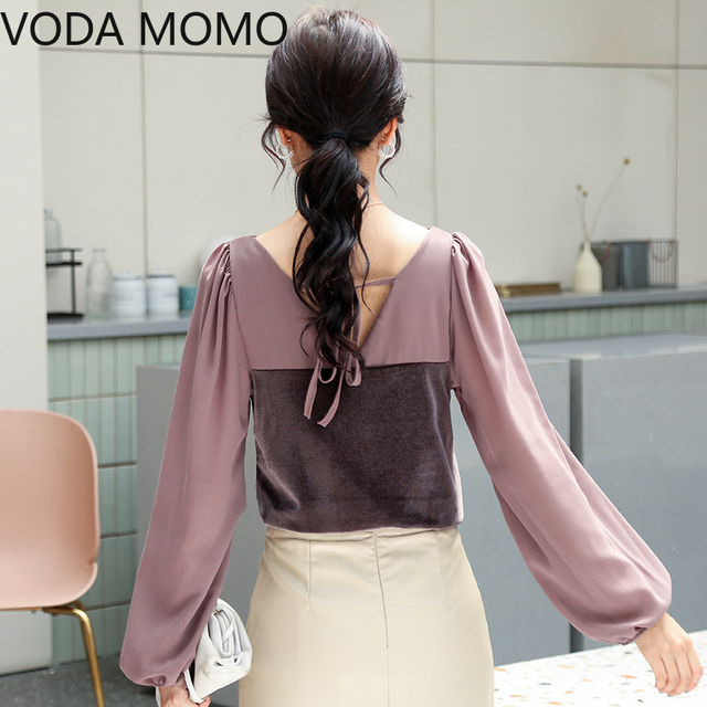 2021 spring velvet patchwork women's shirt blouse for women blusas womens tops and blouses chiffon shirts ladie's top plus size 4