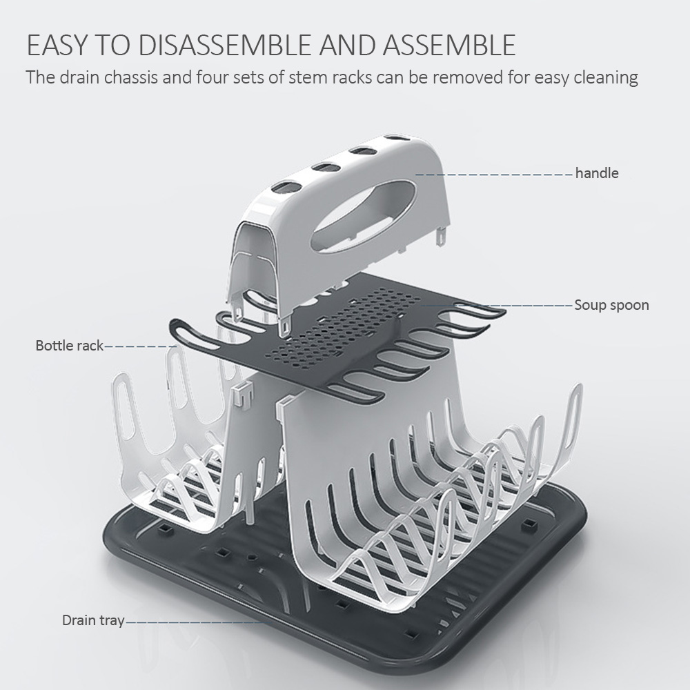 Portable Bottle Drying Rack Baby Feeding Milk Bottle Cup Drying Rack Dryer US