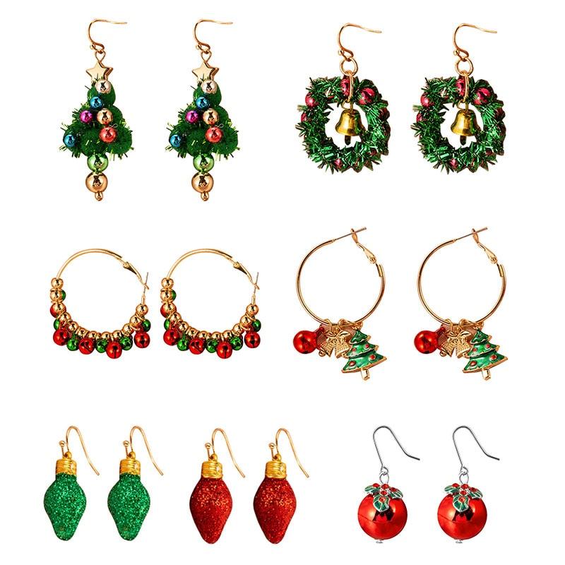 1/2 pares de brincos de natal criativo liga sinos guirlanda árvore de natal pingente feminino festa jóias acessórios presente