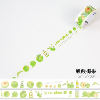 1.5cm 3m 1 Pcs We Love Fruit Design Green Plum Style Washi Tape DIY Scrapbook Sticker Label Masking Home Decor