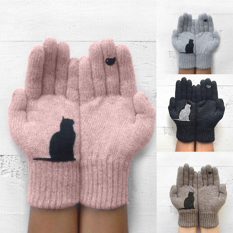 Pair Women 1 Gloves Cartoon Cat Bird Autumn Winter Warm Cashmere Thick Cute Fashion New Gloves 2022
