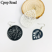 Cpop Creative Hollow Leaf PU Leather Earrings for Women Round Water Drop Pendant Dangle Accessories Jewelry Gift