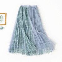 2019 Autumn New Arrival Openwork Lace Long Skirt A Line Long Skirt High Waist Slim Pleated Skirt Free Shipping