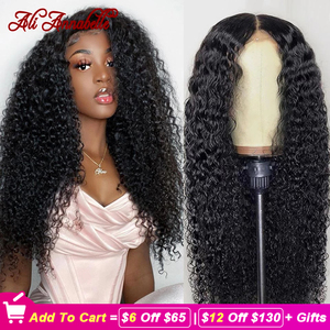 Image 1 - Парик из натуральных волос на сетке передней части, искусственные бразильские вьющиеся волосы, 13x4 13x6, ALI ANNABELLE, кудрявый