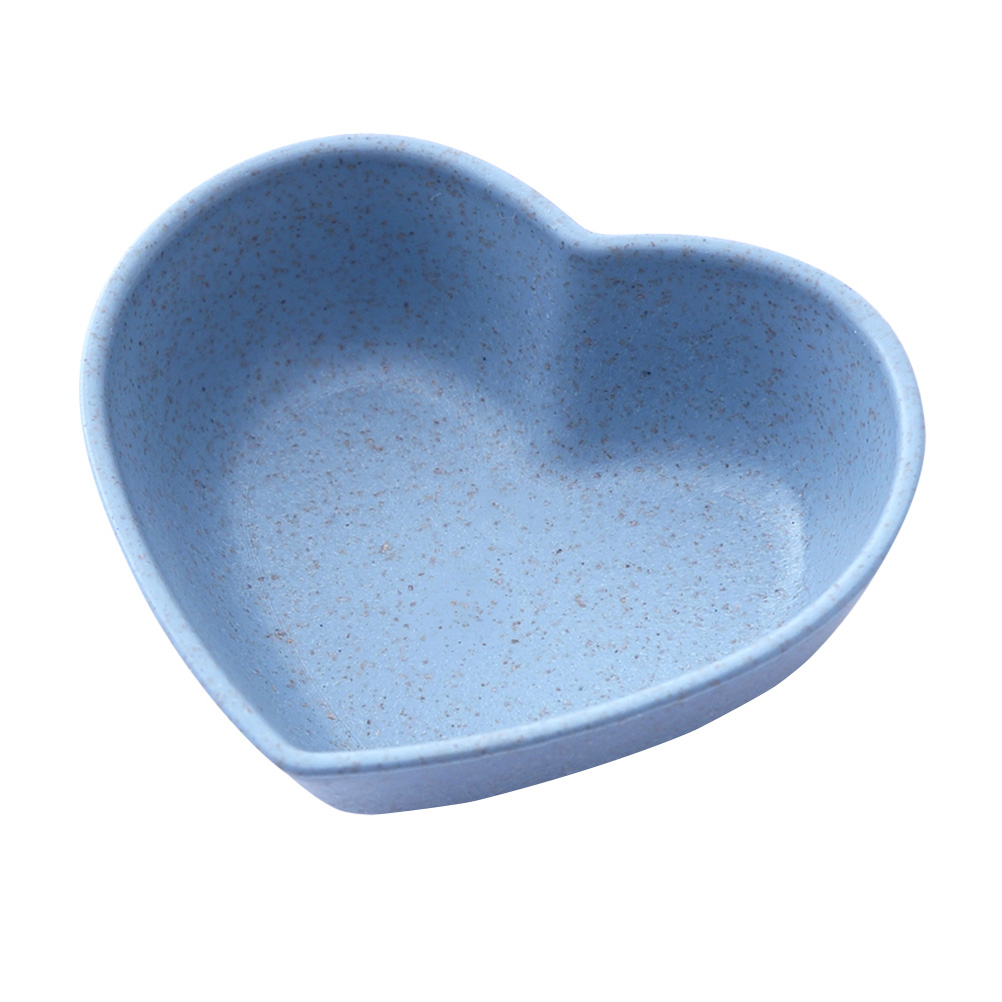 4pcs Heart Shaped Sauce Dishes Wheat Straw Appetizer Plates Food Dipping Bowls