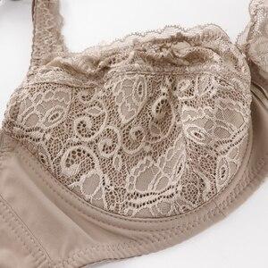 Image 5 - Trufeeling Katoen Gevoerd Plus Size Sexy Beha Dd E Ddd F Cup Bloemen Kant Emboridery Perspectief Comfortabel Ondergoed Voor Vrouwen