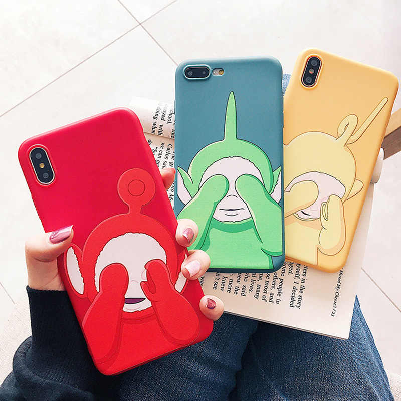 Bonito Teletubbies Para iPhone11ProMax XsMax Escudo Do Telefone Móvel Para o iphone 6 7 8 Plus Pure color Suave Anti-knock escudo Do Telefone móvel