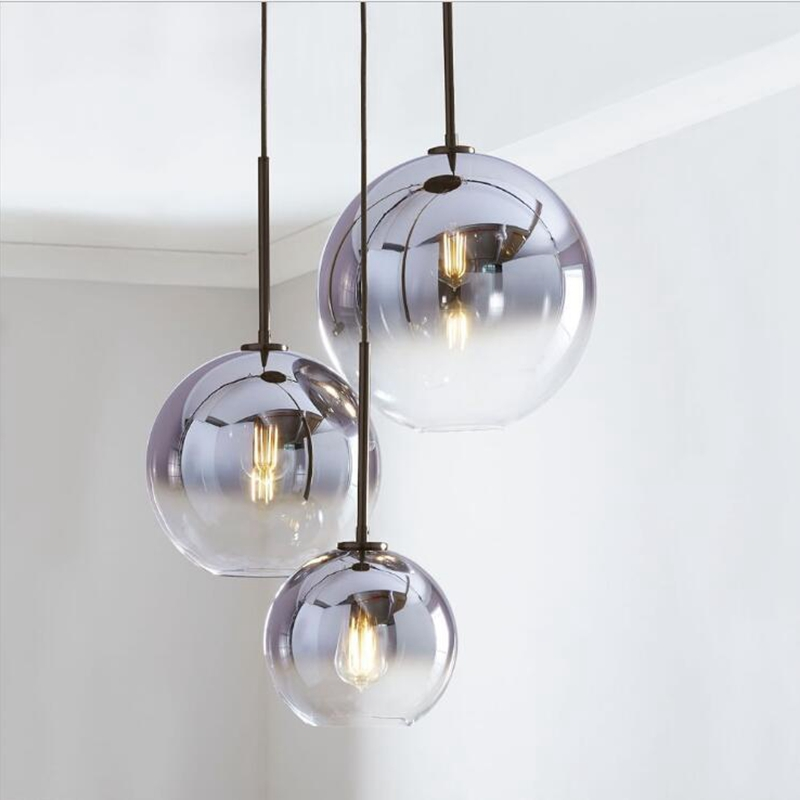 Nordic LED Pendant Light Silver Gold Glass Pendant Lamp Ball Hanging Lamp Kitchen Fixtures Dining Living Room Shop Bar Luminaire