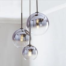 Nordic LED Pendant Light Silver Gold Glass Pendant Lamp Ball