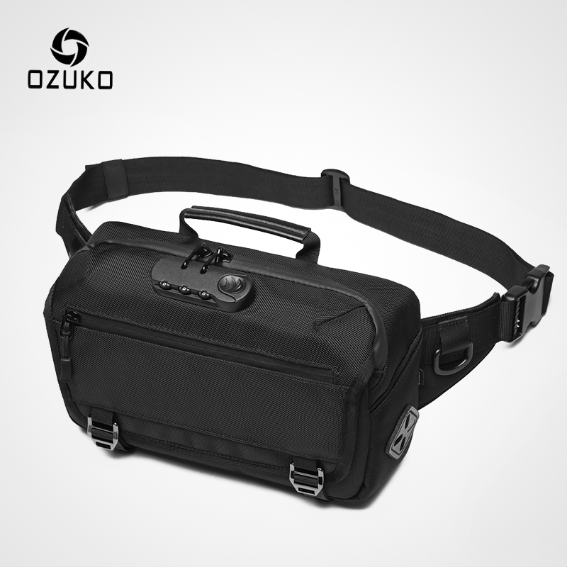 OZUKO New Anti-theft Men Waist Bag Casual Fanny Pack Male Waterproof Travel Waist Bags USB Charging Chest Bag For Cell Phone