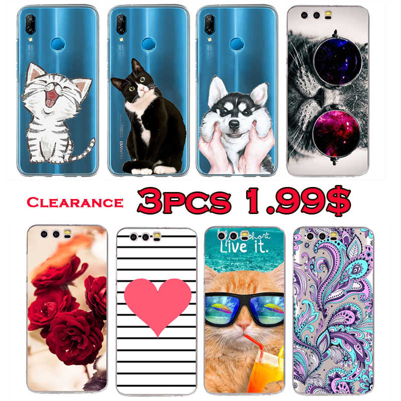 Cute Cat Dog Heart Case For Huawei P20 P10 P9 Lite Pro Mate 10 Lite Cover For Huawei Honor 8X 9 8 6A 8 Lite Case Transparent