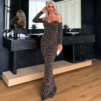 Missord Sexy Off the Shoulder Sequin Evening Party Dress Autumn Winter Long Sleeve Maxi Dress Women Long Bodycon Dress M0625-1 missord 2020 women sexy deep v neck backless sequin dress women sleeveless maxi dress bodycon evening party dress vestido m0449