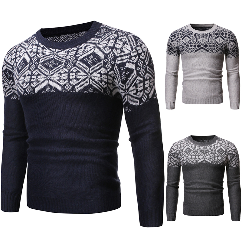 Autumn New Men's Christmas Snowflake Muscle 3D Hollow Sweaters O-Neck Tops Spring Casual Knitted Fall Leisure Slim Fit Pullovers
