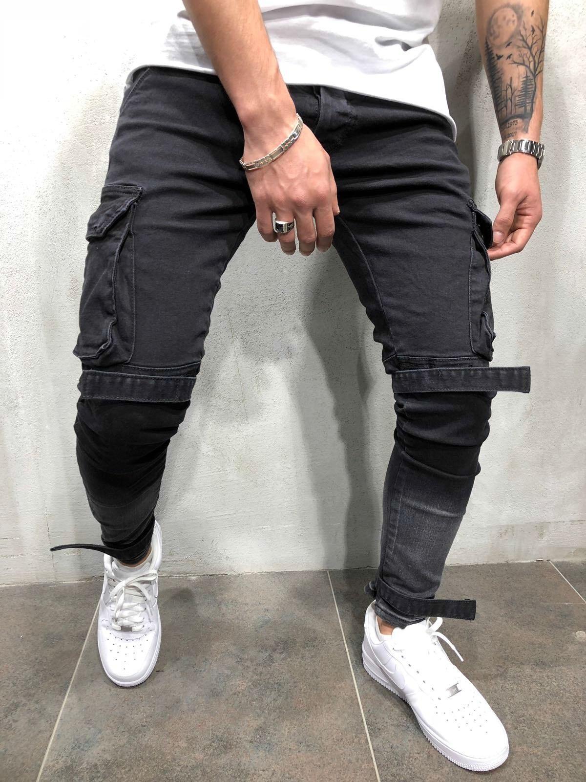 2018 New Arrived Men Cargo Pockets biker jeans denim slim supper skinny hip hop jeans A405