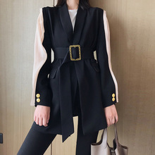 2019 Fashion Elegant Women's Blazer V Neck Hit Col