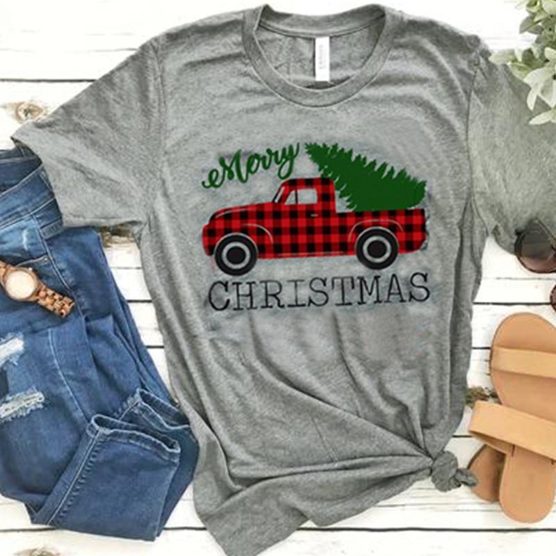 Women T-shirts Tee Womens Fashion Clothes Female Tshirt Harajuku Tee Long Sleeve Shirt Merry Christmas Tree