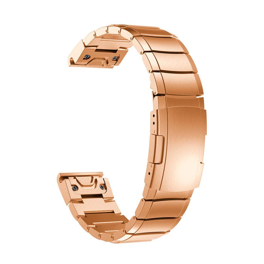 Taśma metalowa dla Garmin Fenix 6 Pro/5 Plus pasek bransoletka 22mm szybkie uwolnienie pasek na nadgarstek dla fenix6 zegarek ze stali stali nierdzewnej zespoły