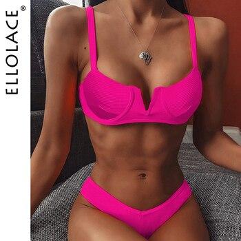 Ellolace Deep-v Bikini Set Women Summer Swimwear Biquini Feminino Bathing Suit Push Up Swimsuit Holiday 2020 New Girl Beach Wear - discount item  50% OFF Swimwears