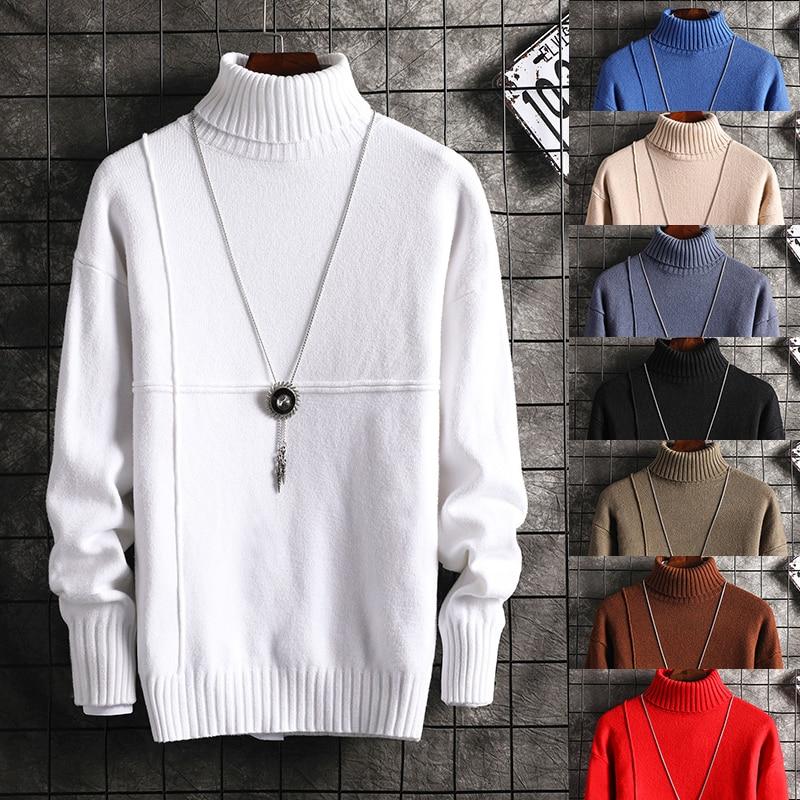 New Fashion Men's Knit Lapel Long Sleeve Turtleneck Turtleneck Solid Color Regular Sweater For Men Winter High Neck
