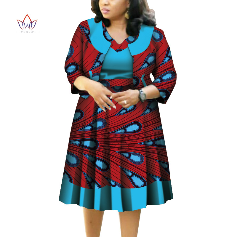 New African Top And Tutu Skirts Sets For Women Bazin Riche African Women Clothing Dashiki 2 Pieces Coat And Skirts Sets WY4403