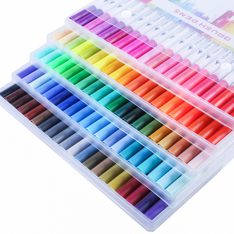 12/24/36/48/72/100 Color Set Fine Colour  Drawing Art Sharpies Markers Pen Caligraphy Painting Water Color Lettering Brush Pen