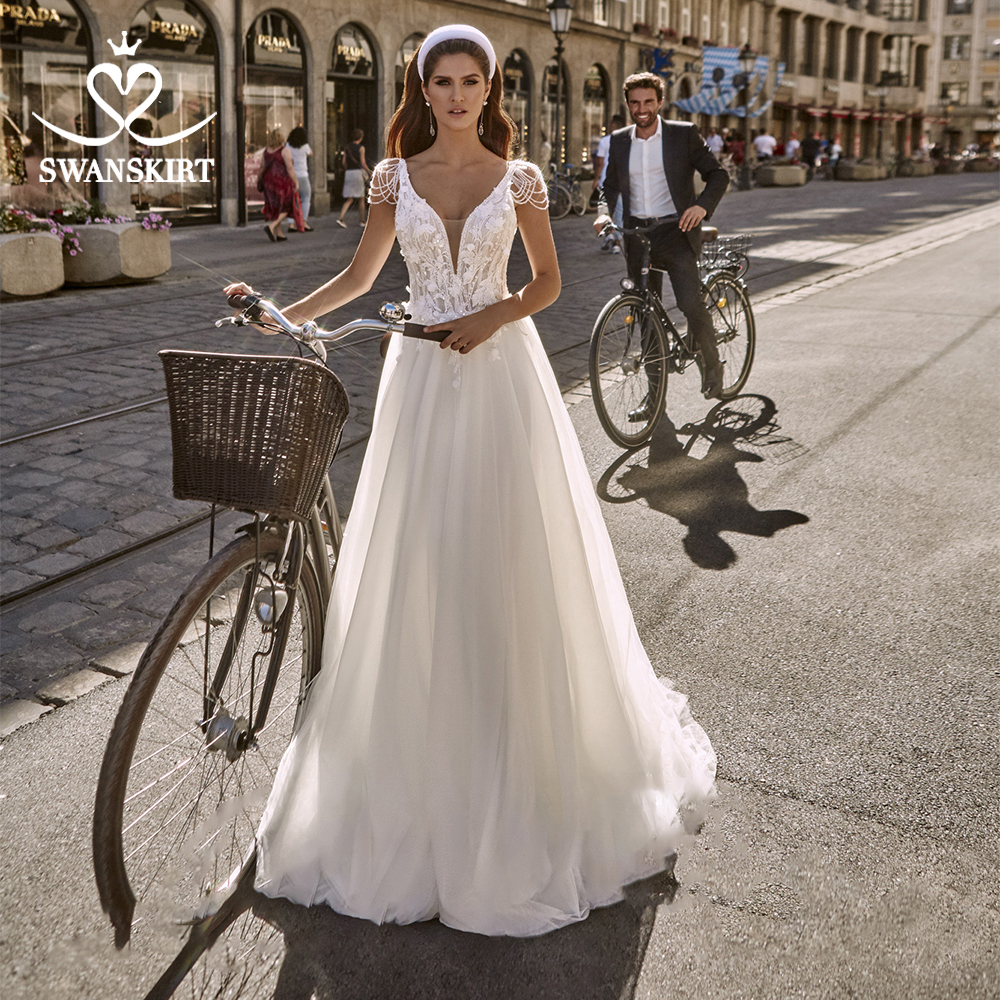 Fashion V-neck Sleeveless Wedding Dress Swanskirt PZ27 Beaded Appliques A-Line Backless Princess Bridal Gown Vestido De Novia