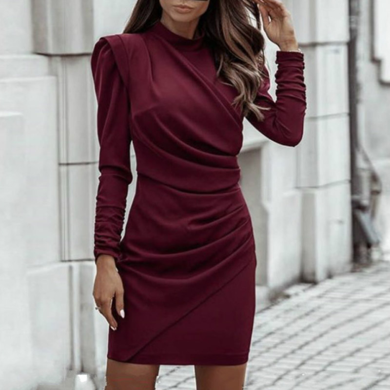 2021 Spring Elegant Stand Collar Solid Party Dress Women Vintage Pleated Dresses Ladies Puff Long Sleeve Bodycon Dress Vestidos 7