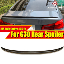 цена на For BMW G30 Spoiler Wing P Style 5-Series 530i 540i 545i 550i M Performance Carbon Fiber Rear Trunk Tail Spoiler Wings 2017-in
