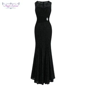 Image 1 - แองเจิลแฟชั่น Halter แขนกุด vestidos de Noche ชุดราตรียาวสีดำ 160 425 439 416 418 477