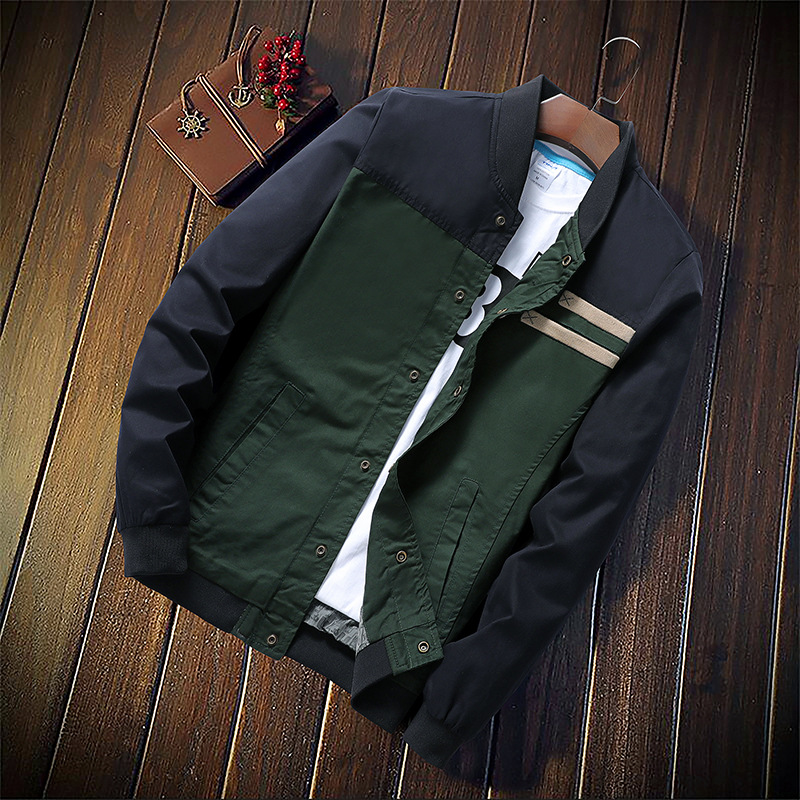 New Trend Mens Military Jacket Autumn Men Slim Fit Casual Bomber Jackets Solid Splice Male Streetwear