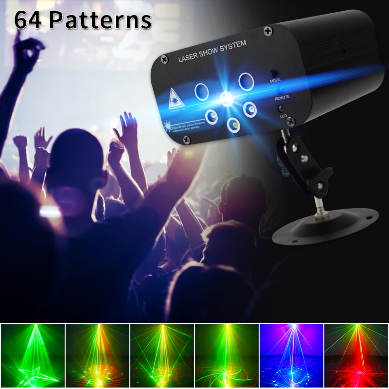 Işıklar ve Aydınlatma'ten Sahne Aydınlatması Efekti'de WUZSTAR lazer projektör ışık 64 desenler DJ disko ışık müzik RGB sahne aydınlatma etkisi lambası yılbaşı KTV ev partisi title=
